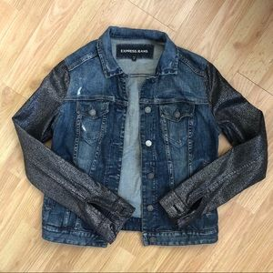 Express denim jacket metallic sleeves asos guess